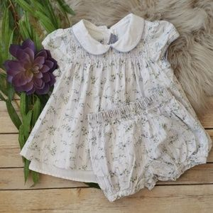 First Impression Smocked Foral Dress & Bloomers